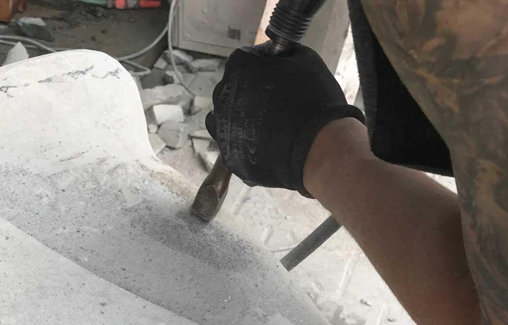 Details mit dem Stockhammer