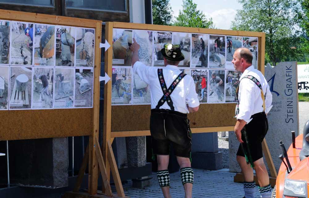 Ausstellung Steinbildhauersymposium grobe Steinmetzarbeiten